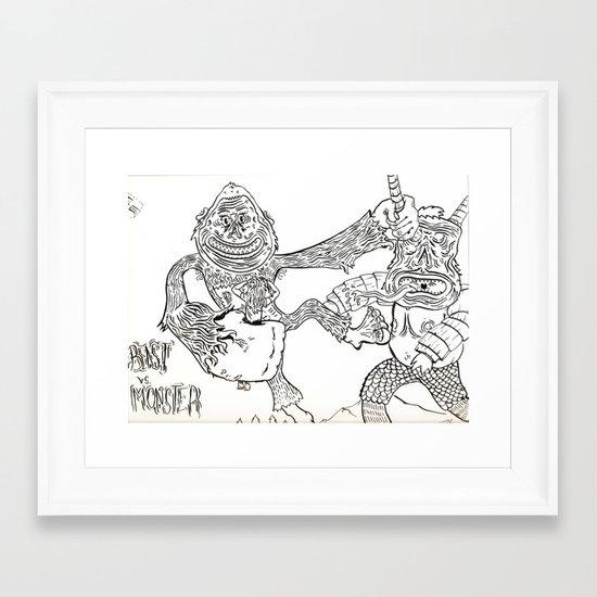 Beast Vs. Monster Framed Art Print