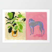 Plant and Pink dog Art Print
