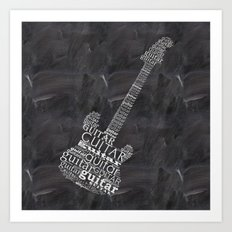 Guitar on chalkboard Art Print