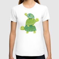 Turtle Stack Womens Fitted Tee White SMALL