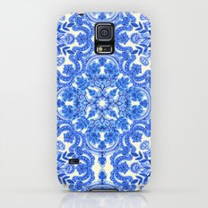 Cobalt Blue & China White Folk Art Pattern Galaxy S5 Slim Case