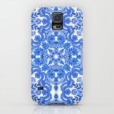 Cobalt Blue & China White Folk Art Pattern Galaxy S5 Slim Case