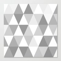 shades of grey triangles Canvas Print