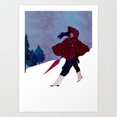 walking on snow Art Print