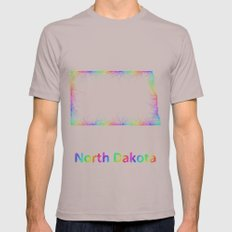 Rainbow North Dakota map Mens Fitted Tee Cinder SMALL