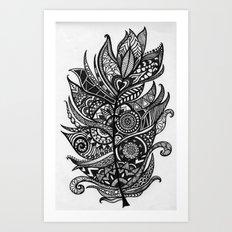 Zen Tangle Feather Art Print