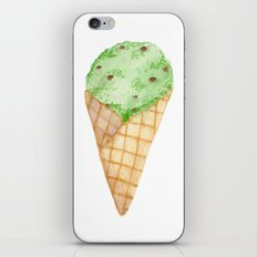 Watercolour Illustrated Ice Cream - Mint Choc Chip iPhone & iPod Skin