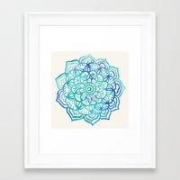 Watercolor Medallion in Ocean Colors Framed Art Print
