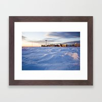Snowy Coney Island Framed Art Print