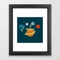 Saturn Ring Toss Framed Art Print