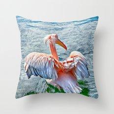 Pink Pelican Throw Pillow