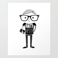 hipster Art Prints featuring Anti-hipster by Farnell