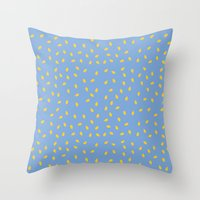 Yellow Pit On Blue /// W… Throw Pillow