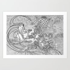 Chess Game / Original A4 Illustration / Pen & Ink Art Print