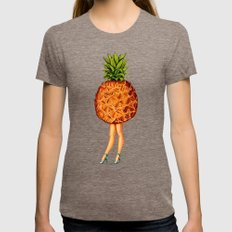 Pineapple Girl Womens Fitted Tee Tri-Coffee SMALL