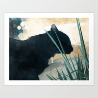 Skelly Cat In The Grass Art Print