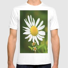 Wild Daisy White Mens Fitted Tee SMALL