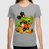 MICKTHULHU MOUSE (color) Womens Fitted Tee Tri-Grey SMALL