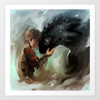 Hiccup & Toothless Art Print