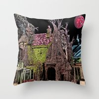 Haunted Tree House Throw Pillow