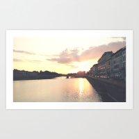 Sunset On The Arno Art Print