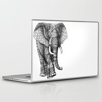 elephant Laptop & iPad Skins featuring Ornate Elephant v.2 by BIOWORKZ