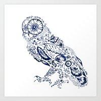 Folk Floral Indigo Owl Art Print