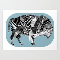 BLUE BISONTE-. Art Print