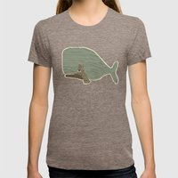 Blue Whale  Womens Fitted Tee Tri-Coffee SMALL