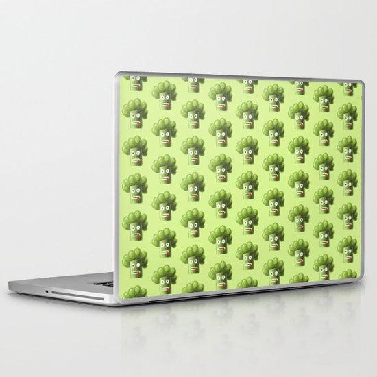 Green Funny Cartoon Broccoli  Laptop & iPad Skin