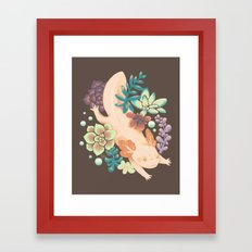 Axolotl & Succulents Framed Art Print