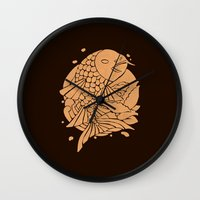 The Gold Koi Fish Wall Clock
