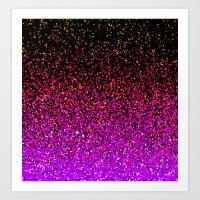 Pink Glitter Sparkle Gradient Art Print