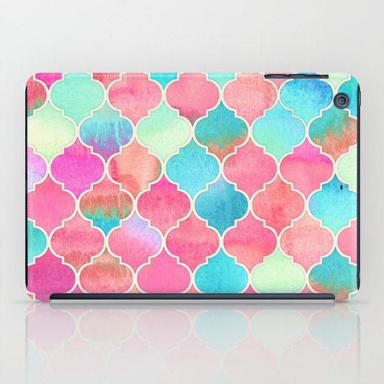 Watercolor Moroccan Patchwork in Magenta, Peach & Aqua iPad Case