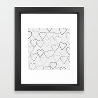 Black And White R Hearts Framed Art Print