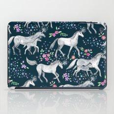 Unicorns and Stars on Dark Teal iPad Case