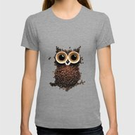 Owl Coffee Womens Fitted Tee Tri-Grey SMALL
