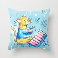 Keyboard Cat Says Thank … Throw Pillow