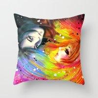 RAINBOW AND NIGHT Throw Pillow