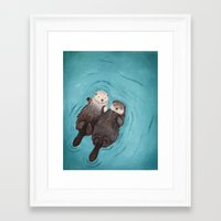 Framed Art Prints featuring Otterly Romantic - Otters Holding Hands by When Guinea Pigs Fly