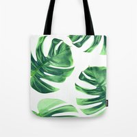 Monstera Leaves On White Tote Bag