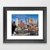 Lower East Side, New York City Art, NYC Architecture Photography, Urban Prints, Blue Wall Art Framed Art Print