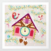 Cuckoo For Christmas Art Print