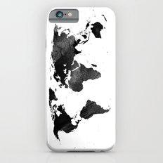 Black Watercolor World M… iPhone 6 Slim Case