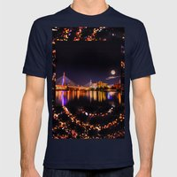 Moon Light Over Zakim Br… Mens Fitted Tee Navy SMALL