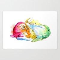 Deer Nap Art Print