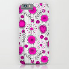 Whimsical flowers in pink and white Slim Case iPhone 6s