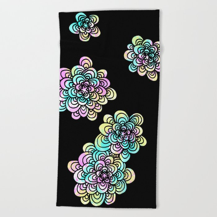 black floral zentangle tangle pattern beach towel
