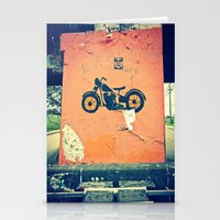 Motorcycle street art Stationery Cards