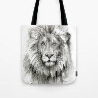 Lion Watercolor Black and White Animal Portrait Tote Bag